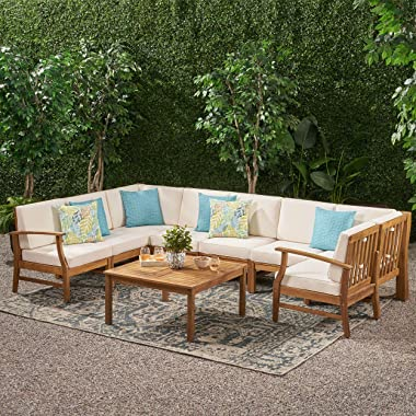 Lorelei Outdoor 8 Seater Teak Finished Acacia Wood Sectional Sofa and Table Set with Cream Water Resistant Cushions