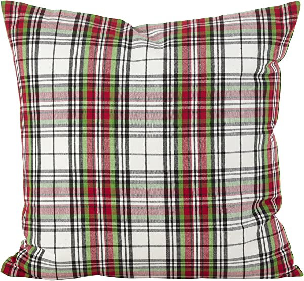 SARO LIFESTYLE Classic Tartan Plaid Pattern Cotton Down Filled Throw Pillow 20 X 20 Multi
