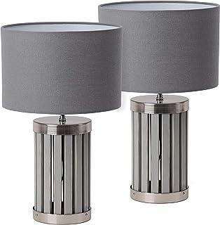 BRUBAKER - Lampe de table/de chevet - Lot de 2 - Design moderne - Hauteur 41 cm - Pied en Bois & Métal/Gris - Abat-jour en...