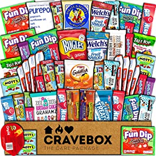 CraveBox Care Package (50 Count) Snacks Cookies Bars Chips Candy Ultimate Variety Gift Box Pack Assortment Basket Bundle Mixed Bulk Sampler Treats College Students Office Fall Final Exams Christmas