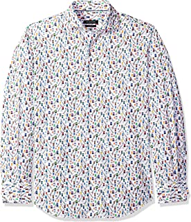 Men's Printed Cotton Tapered Fit Spread Collar Woven Shirt