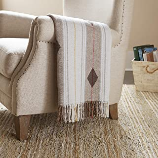 Stone & Beam Contemporary Stripes and Lines Throw Blanket - 60 x 50 Inch, White
