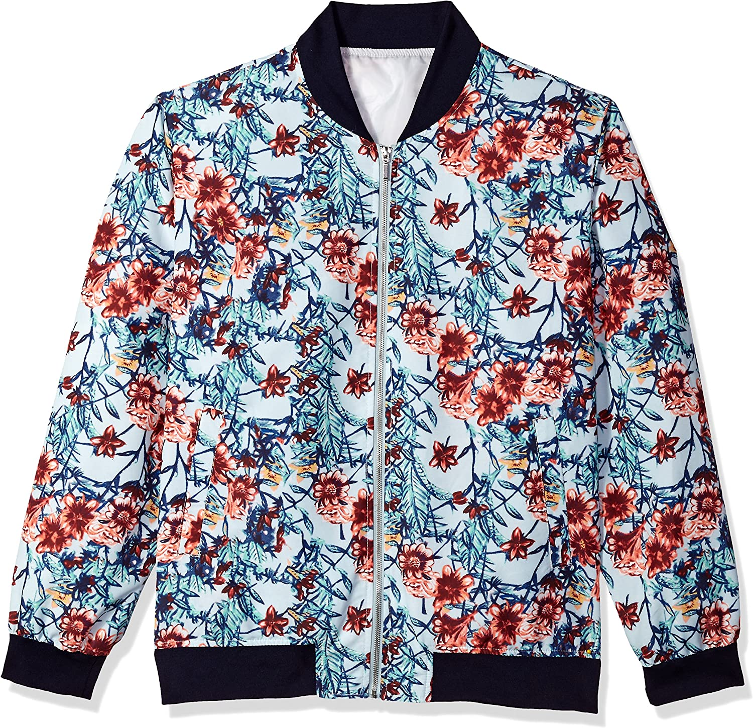 STACY ADAMS Men's Big and Tall Jacket Popular List price brand in the world Light Baseball Blue Floral