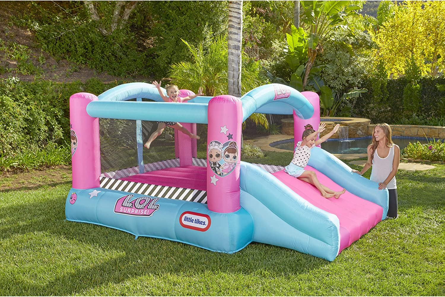 7.99 || L.O.L. Surprise Jump 'n Slide Inflatable Bounce House with Blower
