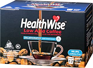 HealthWise Low Acid Swiss Water Decaffeinated Coffee for Keurig K-Cup Brewers, 100% Colombian Supremo, 72 Count