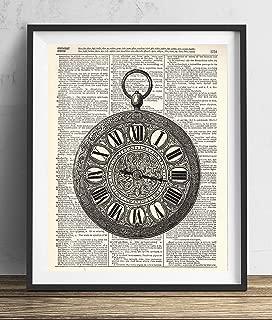 Vintage Pocket Watch Illustration (#2) Upcycled Dictionary Art Print 8x10