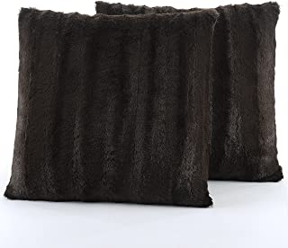 Cheer Collection Faux Fur Throw Pillows - Set of 2 Decorative Couch Pillows - 18