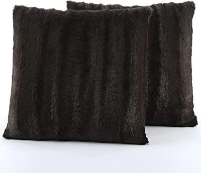 """Cheer Collection Faux Fur Throw Pillows - Set of 2 Decorative Couch Pillows - 18"""" x 18"""" - Chocolate"""
