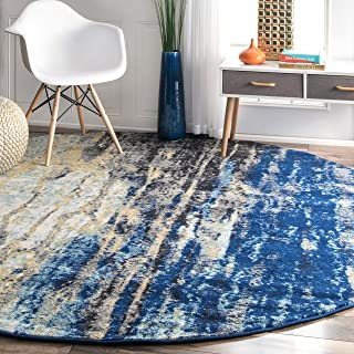 nuLOOM Traditional Waterfall Vintage Abstract Rug, 8' Round, Blue