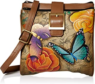 Anna by Anuschka Genuine Leather Travel Organizer, Triple Compartment | Hand-Painted Original Artwork