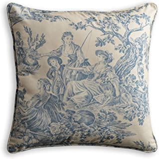 Maison d' Hermine The Miller 100% Cotton Toile Blue Decorative Pillow Cover 18 Inch by 18 Inch.
