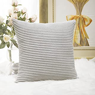 Best Home Brilliant Striped Corduroy Euro Sham Large Throw Pillow Cover Decorative Cushion Cover for Bed, 24 x 24 inch (60cm), Light Grey Review
