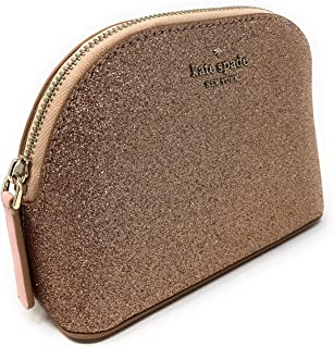 Kate Spade New York Rose Gold Glitter Cosmetic Travel Bag