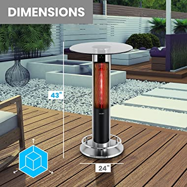 Infrared Outdoor Electric Space Heater -1500 Watt Portable Fast Heating Outdoor Bar Table Heater Odorless Waterproof Electric