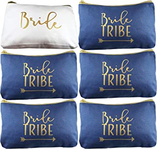 6 Piece Set | Navy Blue Bride Tribe Canvas Cosmetic Makeup Clutch Gifts Bag for Bridesmaid Proposal Box & Bridesmaids Bachelorette Party Favors