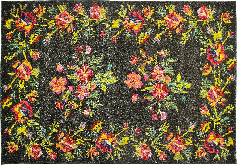 Arte Espina Teppich Vintage Shabby Used Look  Loft Bunt Schwarz Rot 133x190cm