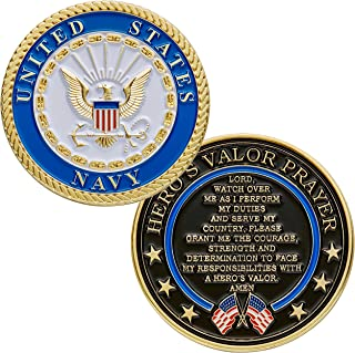 Hero's Valor United States Navy Challenge Coin Prayer 1-Pack (One Coin)