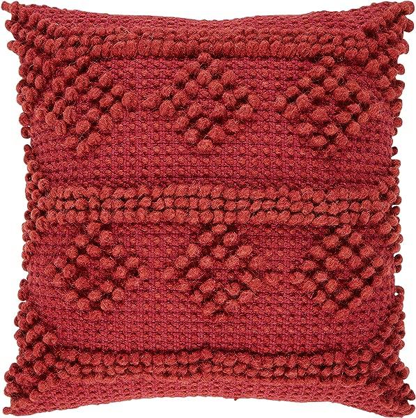 Stone Beam Modern Textured Throw Pillow 18 X 18 Inch Red