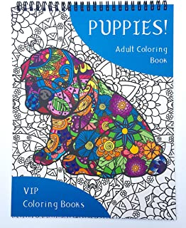Puppies! Adult Coloring Book of 50 Popular Dog Breeds - VIP Coloring Books