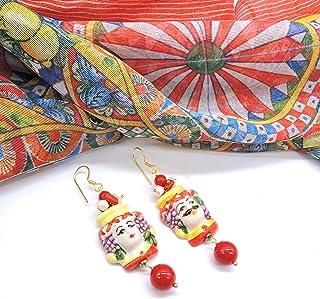 Orecchini Siciliani Teste di Moro in Ceramica di Caltagirone