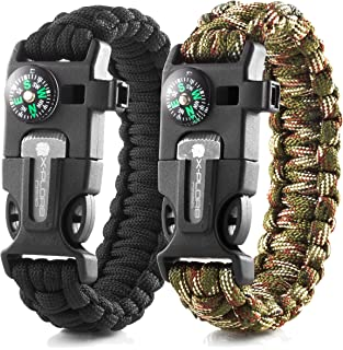 X-Plore Gear Emergency Paracord Bracelets | Set of 2| The...