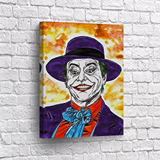 Buy4Wall Jack Nicholson Joker Comics CANVAS PRINT Old School Wall Art Decorative Home Decor Poster Artwork Framed and Stretched- Ready to Hang -%100 Handmade in the USA - 12x8