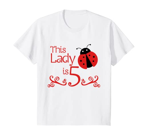 Image Unavailable Not Available For Color Kids 5 Year Old Ladybug Birthday Party 5th Shirt