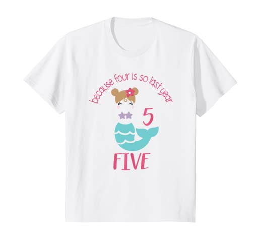 Image Unavailable Not Available For Color Kids Five Year Old Girl Birthday Outfit Mermaid Shirt 5