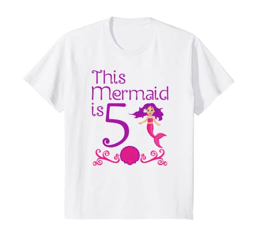 Image Unavailable Not Available For Color Kids 5th Mermaid Birthday Shirt 5 Year Old Girls