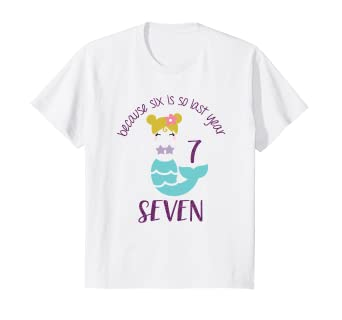 Kids 7 Year Old Birthday Outfit Girl Mermaid Shirt