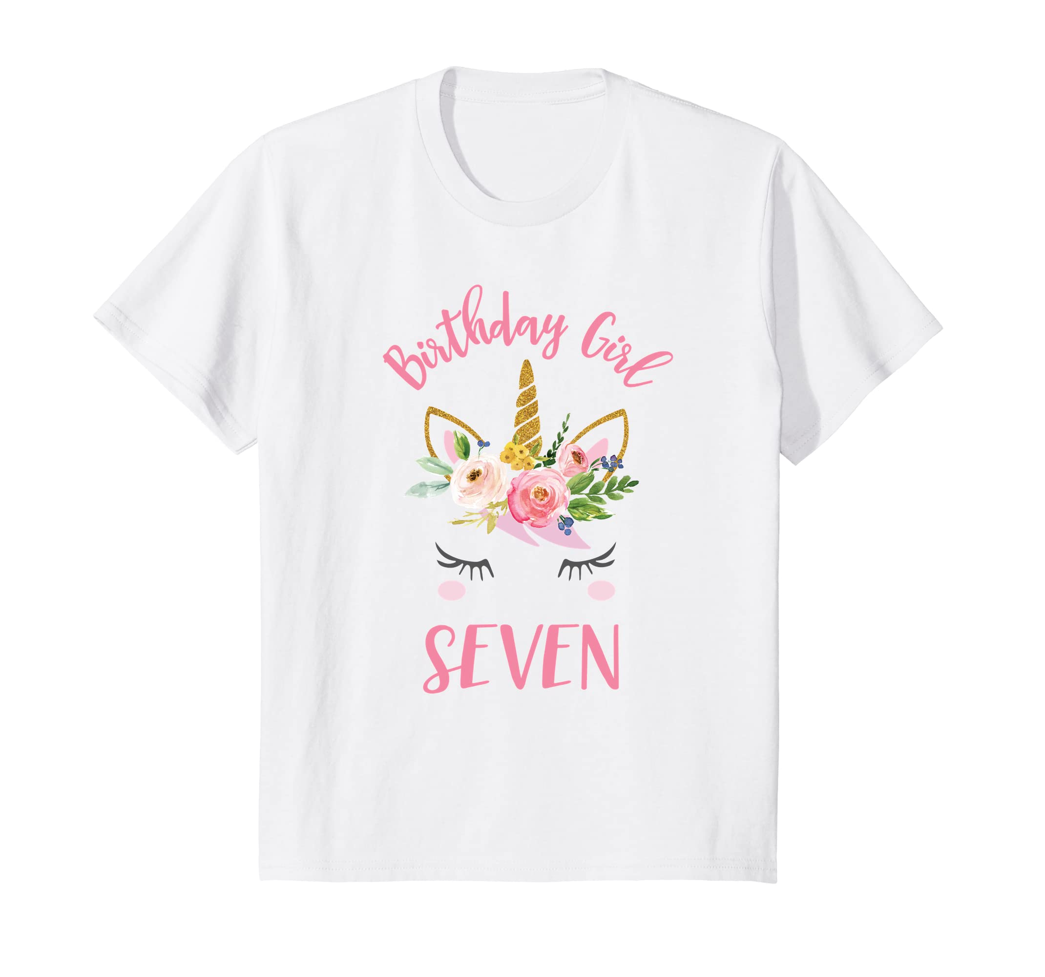 Amazon Kids Unicorn 7th Birthday Shirt Seventh Party Outfit Clothing