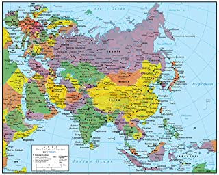Asia Wall Map GeoPolitical Edition by Swiftmaps (36x44 Laminated)