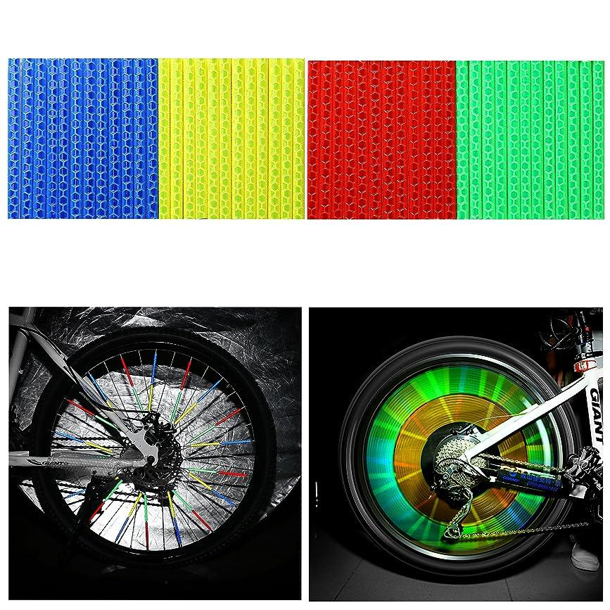 ビーチインディカ去るOUMERS 反射クリップ 自転車ホイール用 反射板48本/セット スポークリフレクター バイク反射スティック 3Mスコッチライト反射材