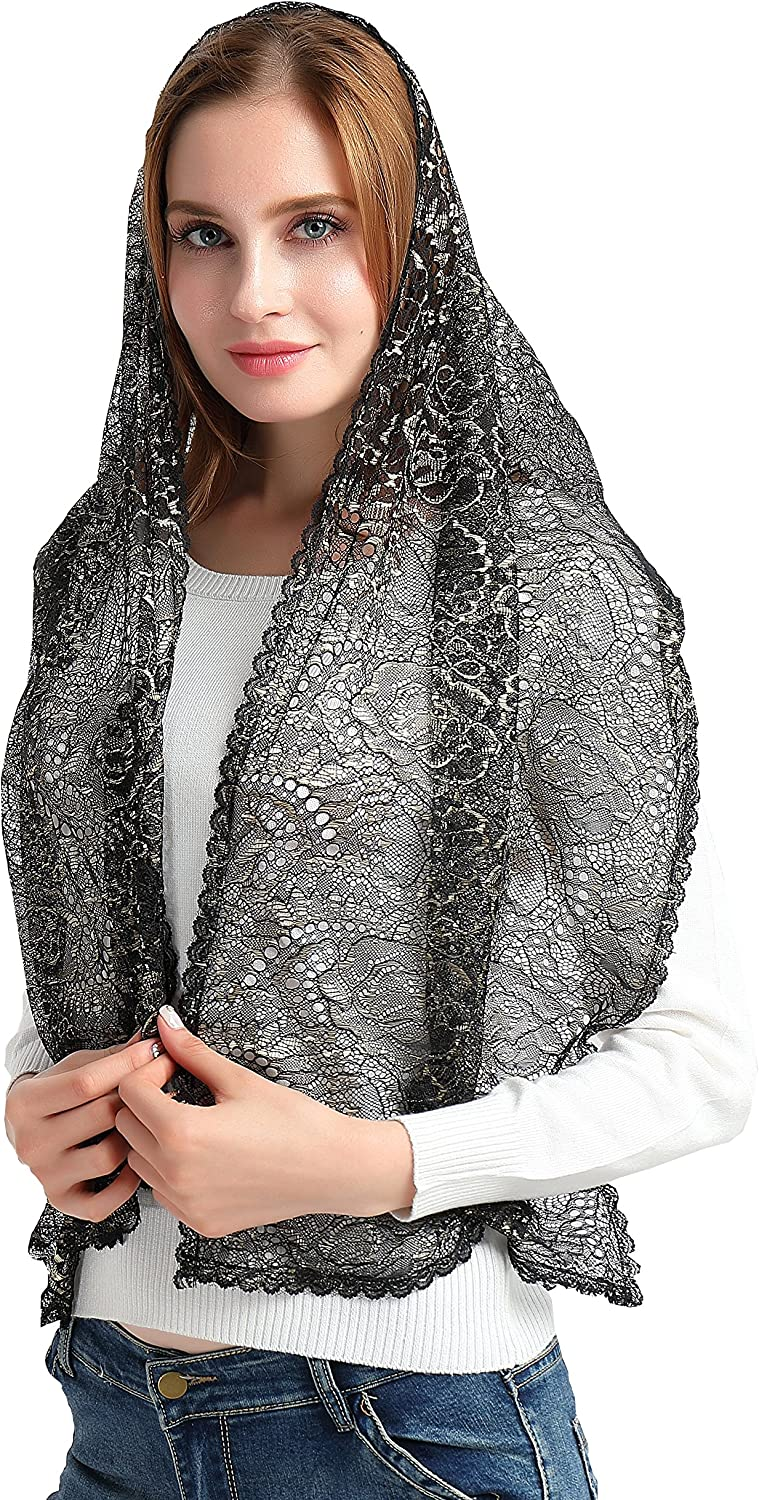 mantilla tulle and guipure with clip and pouch Elegant black wrapshawl or infinity chapel veil