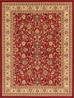 Unique Loom Kashan Collection Traditional Floral Overall Pattern with Border Burgundy Area Rug (9' 0 x 12' 0)
