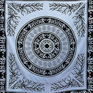 Tapestry Wall Hanging Elephant Black And White Tiger Throw Indian Mandala by Elephrates
