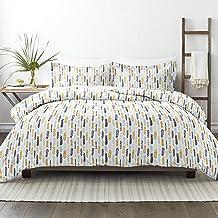 طقم ملاءات سرير مكون من 3 قطع من سيمبلي سوفت بريميوم بنمط ريش، توأم/مفرد طويل جدًا، أزرق داكن