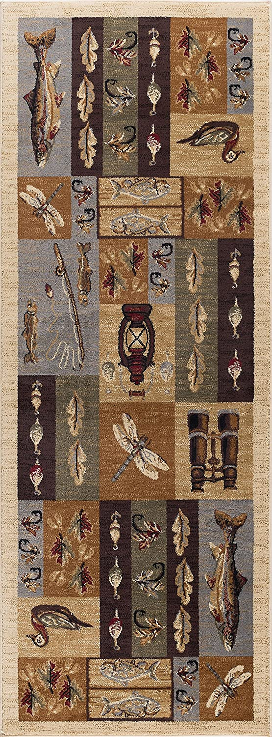 Universal Rugs Nature 6522 Lodge Area Runner, 2-Feet 7-Inch by 7-Feet 3-Inch, Beige