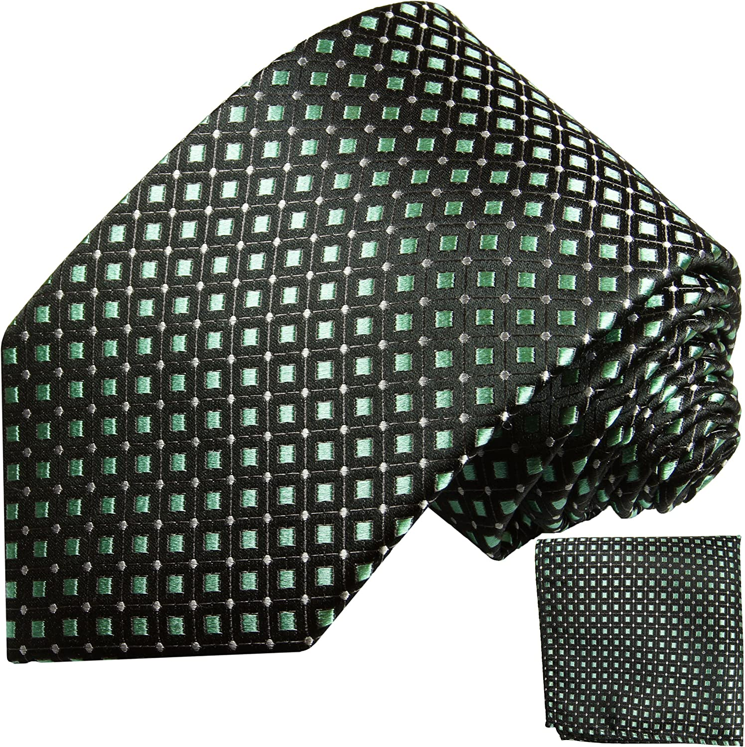 Black and Mint Silk Tie and Pocket Square Paul Malone Red Line