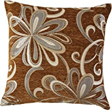 "Chenille Chateau Vintage Floral Design 18"" X 18"" Decorative Throw Pillow 18"" x 18"" Brown CHETAU COVER"