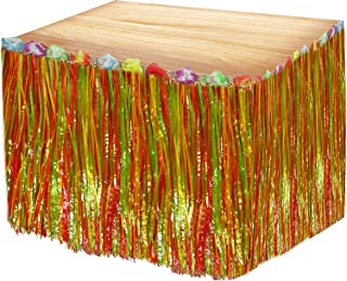 Multi Colored Luau Grass Table Skirt With Hibiscus Flowers - 9' x 29