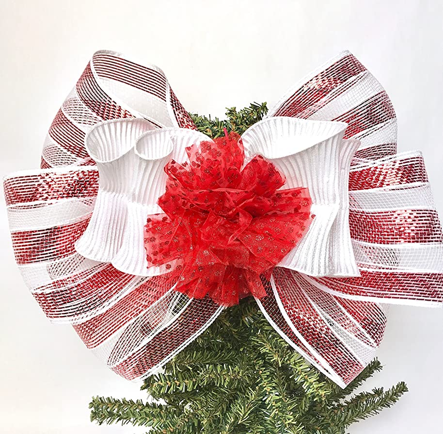 Wreath Bow, Red and White Mesh Handmade Large Gift Bow, Office Decorating, Wreath Bows, Holiday Bow, Home Decor, Christmas Bows, Swag Bow, Door Decor - Handmade Bow