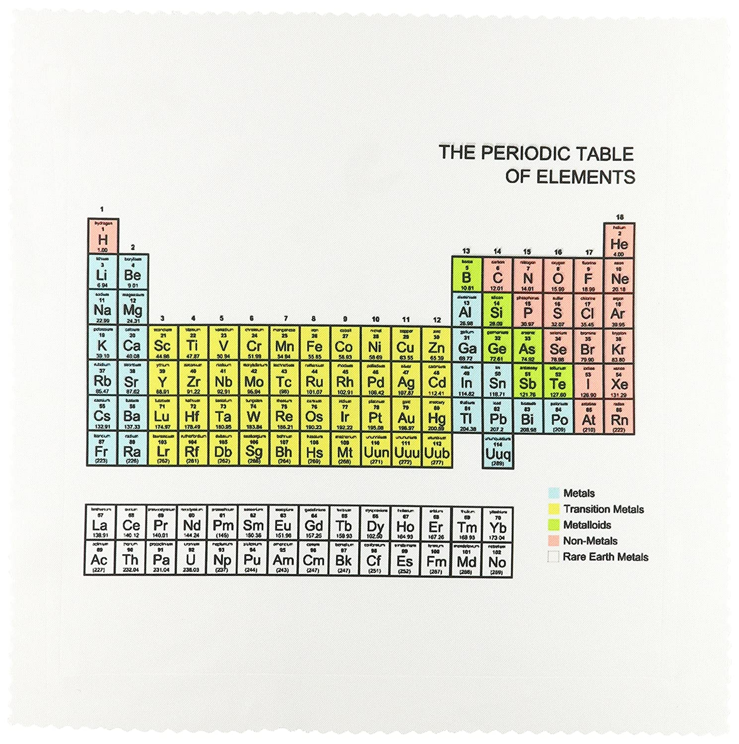 3dRose qs_76645_4 Pastel Periodic Table Academic School Educational Gift for Science Chemistry Physics Classrooms Quilt Square, 12 by 12-Inch