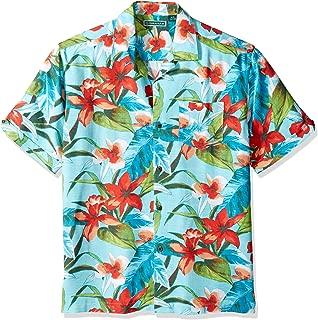 Cubavera Men's Short Sleeve 100% Rayon Tropical Floral Print Cuban Camp Shirt