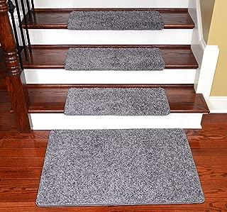 Dean Modern DIY Peel and Stick Bullnose Wraparound Non-Skid Carpet Stair Treads - Eiffel Tower Gray 30
