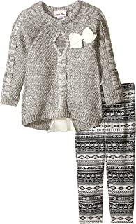 Girls' 2 Piece Sweater Set Belted Marled Cable