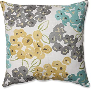 Pillow Perfect Luxury Floral Pool Throw Pillow, 16.5, Aqua/Grey Yellow