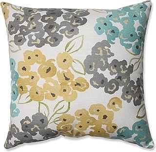 Pillow Perfect Luxury Floral Pool Throw Pillow, 16.5, Aqua/Grey Yellow