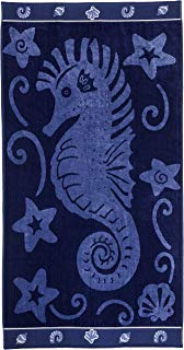 """Superior Luxurious 100% Cotton Beach Towels, Oversized 34"""" x 64"""", Soft Velour Cotton and Absorbent Cotton Terry, Thick and Plush Sea Horse Beach Towels - Seahorse and Stars"""