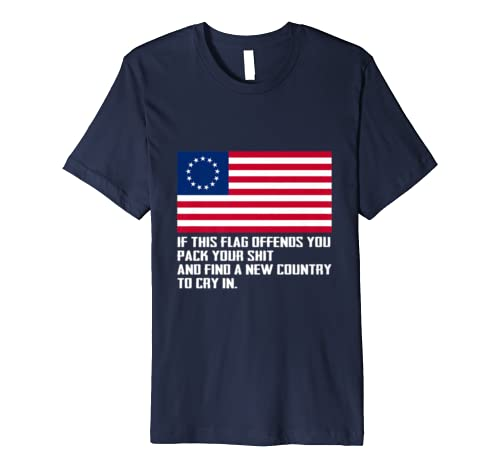 Offends You Betsy Ross American Flag with 13 Stars USA Premium T-Shirt